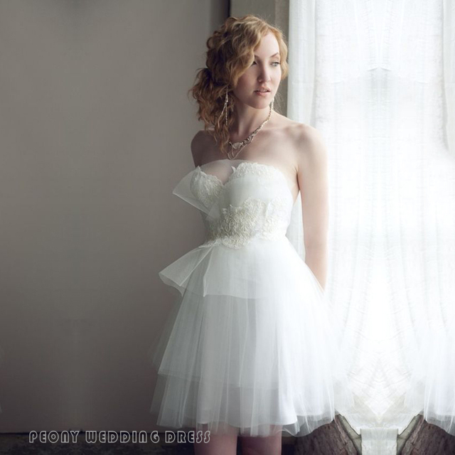 Unique Short Strapless Wedding Dresses Mini Tulle Lace Wedding Dress ...