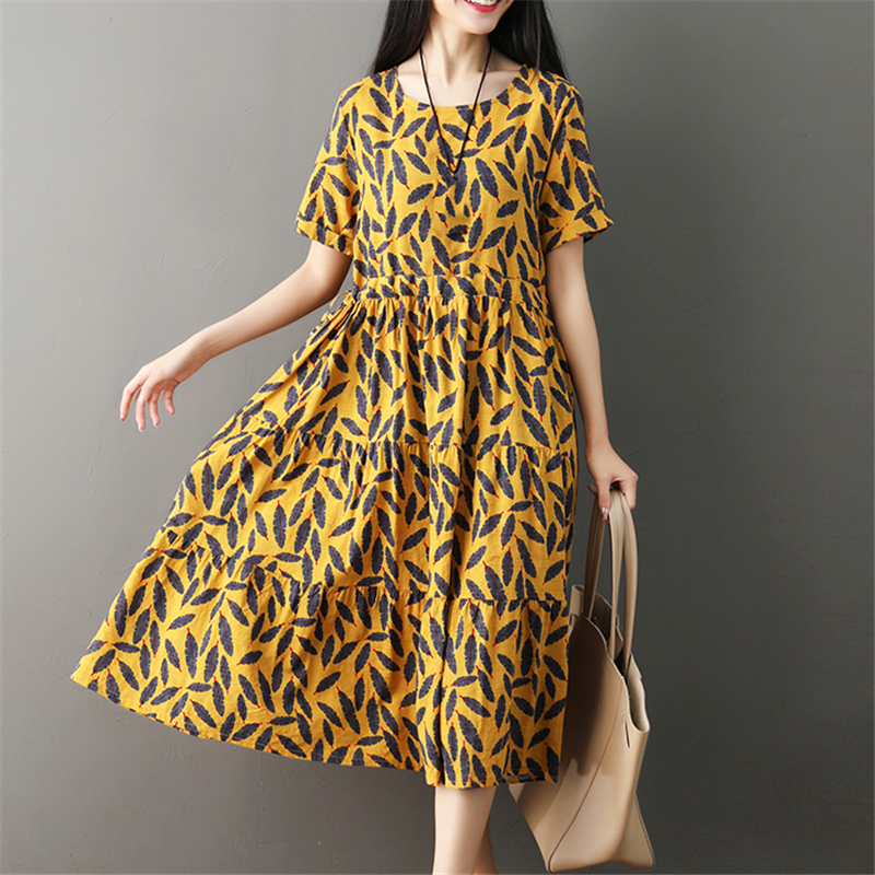 Yellow M 2XL plus size dress women summer new loose round neck short sleeve red green temperament dress vestidos feminina JD226