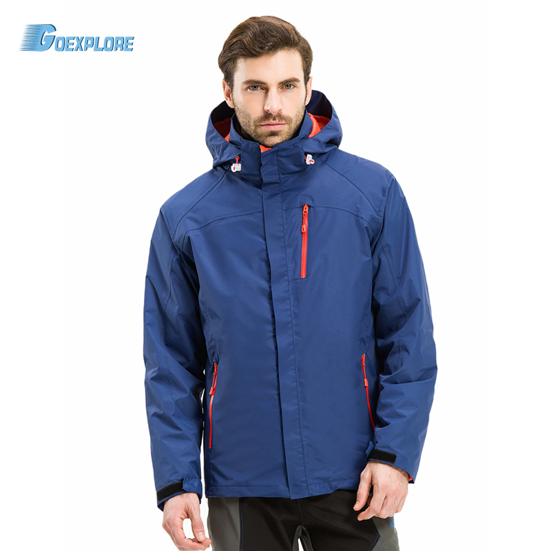 Goexploe Winter Jacket male Camping Hiking Mountain Outdoor Outerwear coat thicken warm waterproof windproof jacket for men men women winter waterproof mountain clothes climbing hiking overcoats thicken fleece lined warm outwear jacket coat for lovers