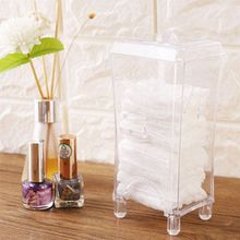 Plastic Clear Cotton Pads Container Holder Cosmetic Makeup Cotton Pad Organizer Storage Box