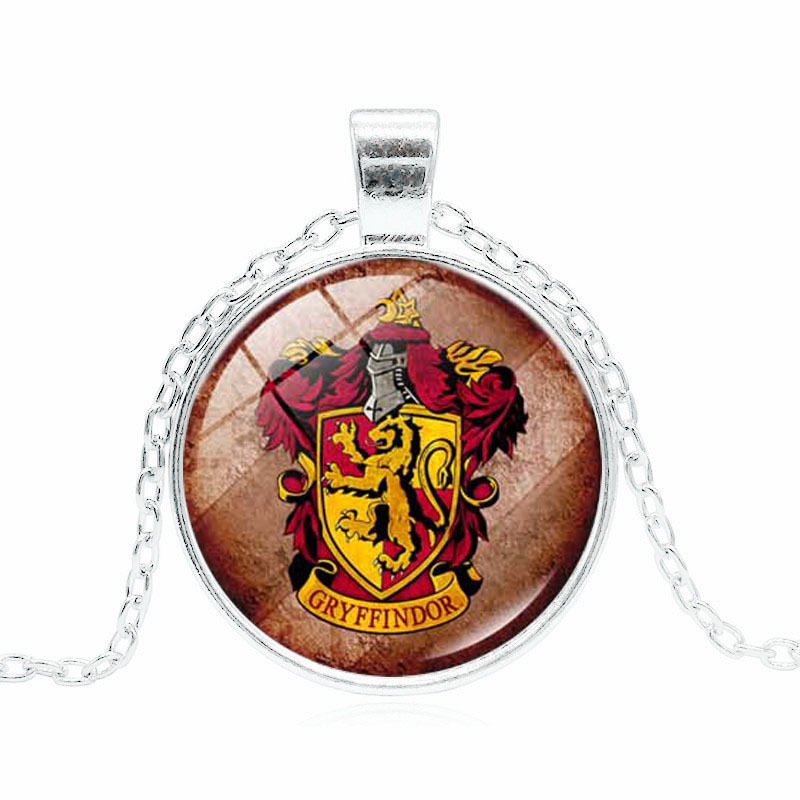 Harry potter cartoon series European and American style Gryffindor insignia glass gem necklace festival gift Toys