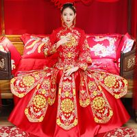 Bride Wedding Dress Gown Oriental Women Red Qipao Overseas Chinese Handmade Embroidery Cheongsam Toast Clothing Marriage Gift
