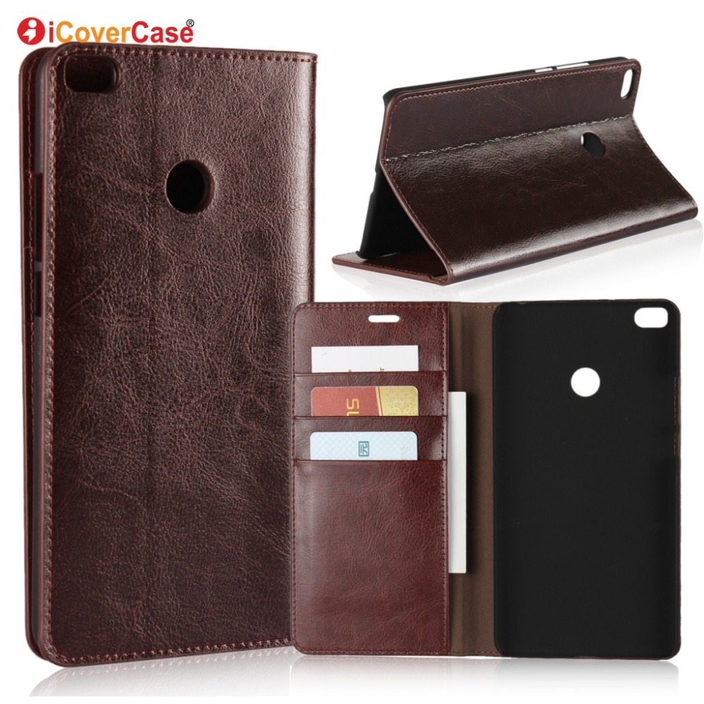Wallet-Case Xiaomi Genuine-Leather Luxury For Mi-Max 2card Slot Stand Protect Real