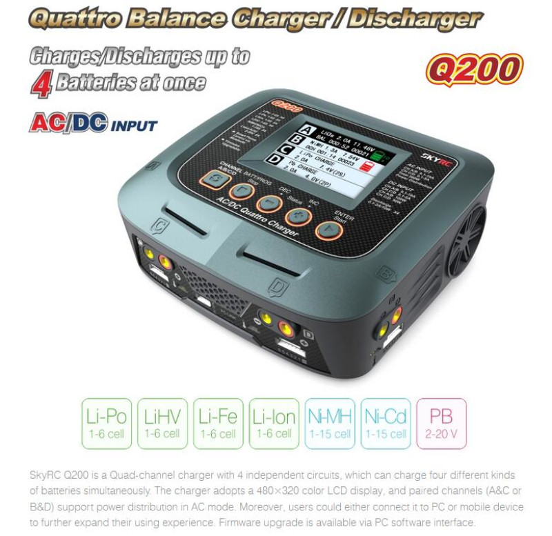 SKYRC Q200 1 to 4 intelligent charger/Discharger AC/DC for Lipo/LiHV/Lithium-iron/Lithium Ion/NiMH/NiCD/Lead-acid battery tec 02 battery capacity testing instrument nicd and nimh lithium iron battery mobile power measuring instrument