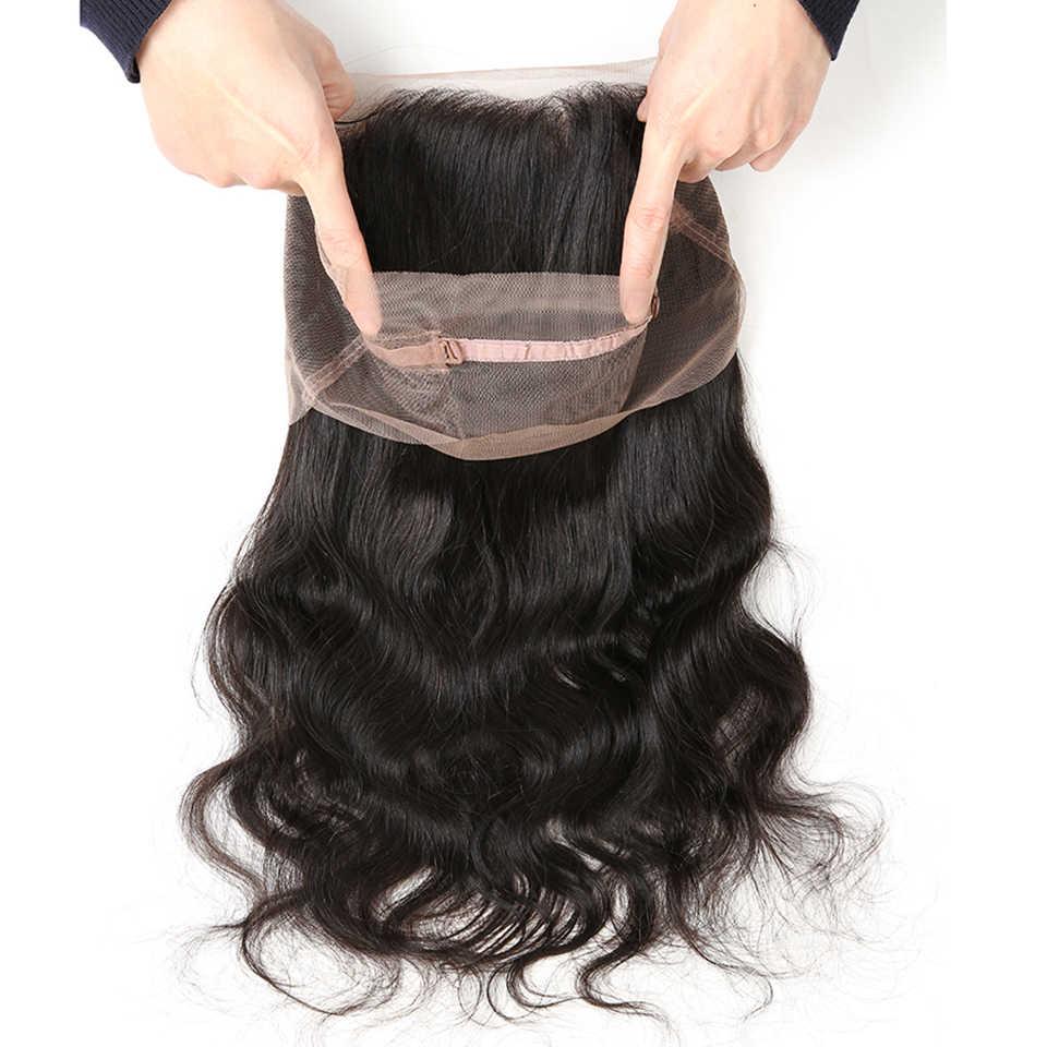 Dejabu cabello brasileño onda del cuerpo cierre 360 encaje Frontal con pelo de bebé parte libre 100% Remy cabello humano cierre Natural color