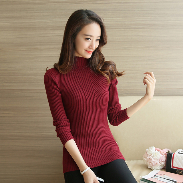 Turtleneck Sweater Women Fashion 2018 Autumn Winter Black Tops Women Knitted Pullovers Long Sleeve Jumper Pull Femme Clothing 3