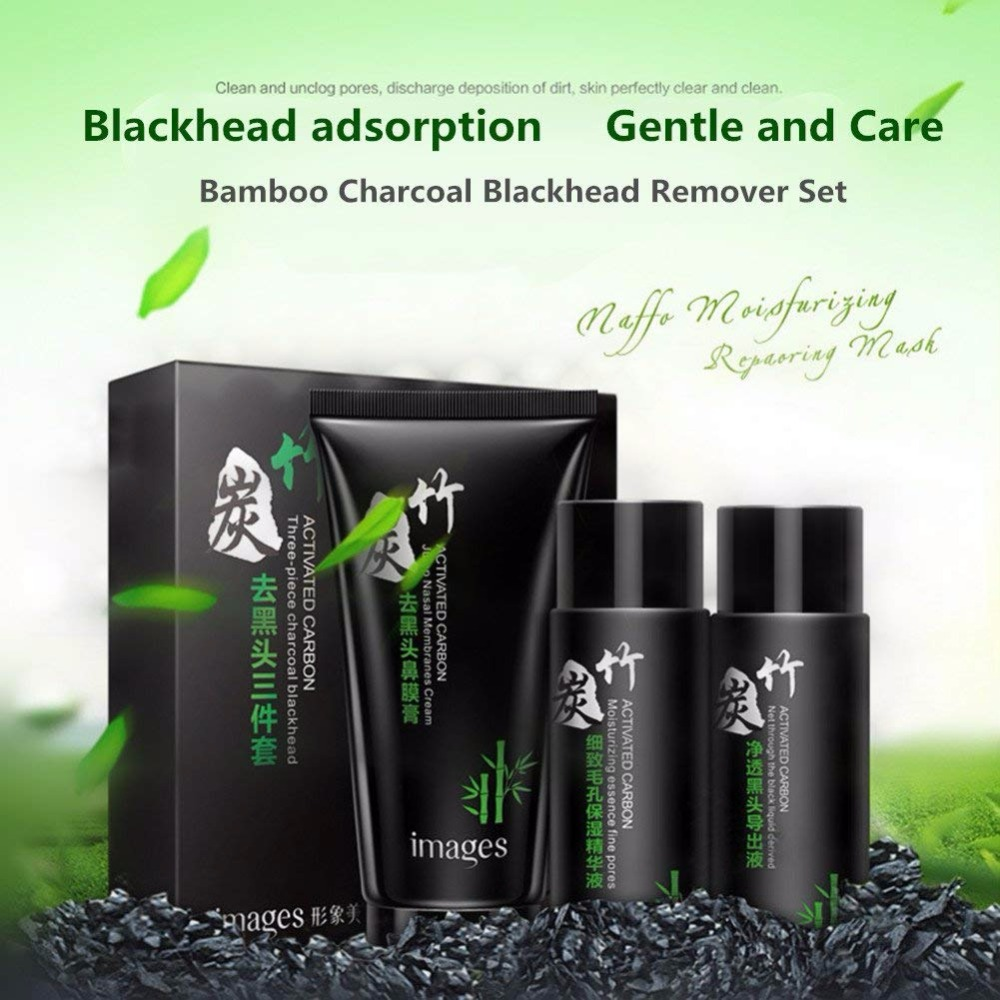 Bamboo Charcoal Black Mask Face Care Deep Cleansing Purifying Blackhead 3 Steps Black Head Remover Acne Nose Mask image