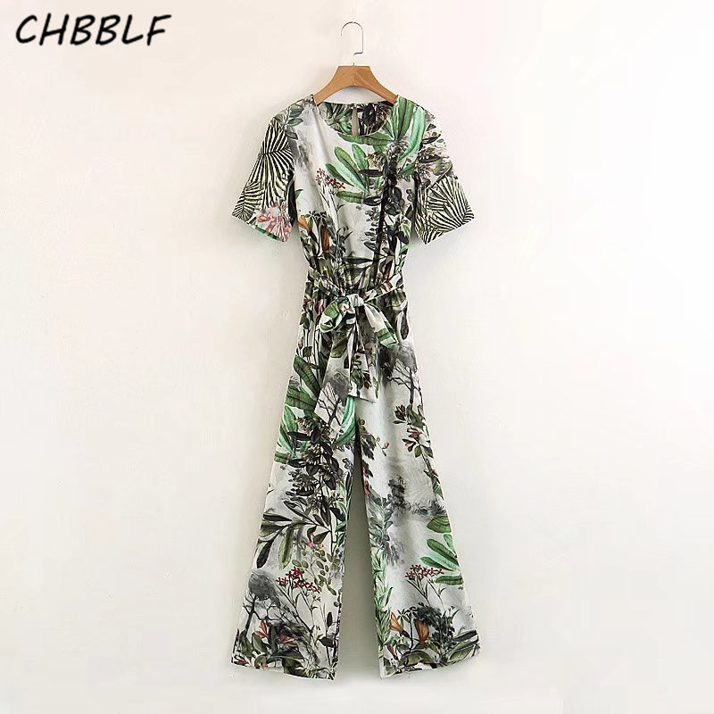 vintage floral jumpsuits wide leg pants sashes fashion rompers summer casual playsuits XSZ1561