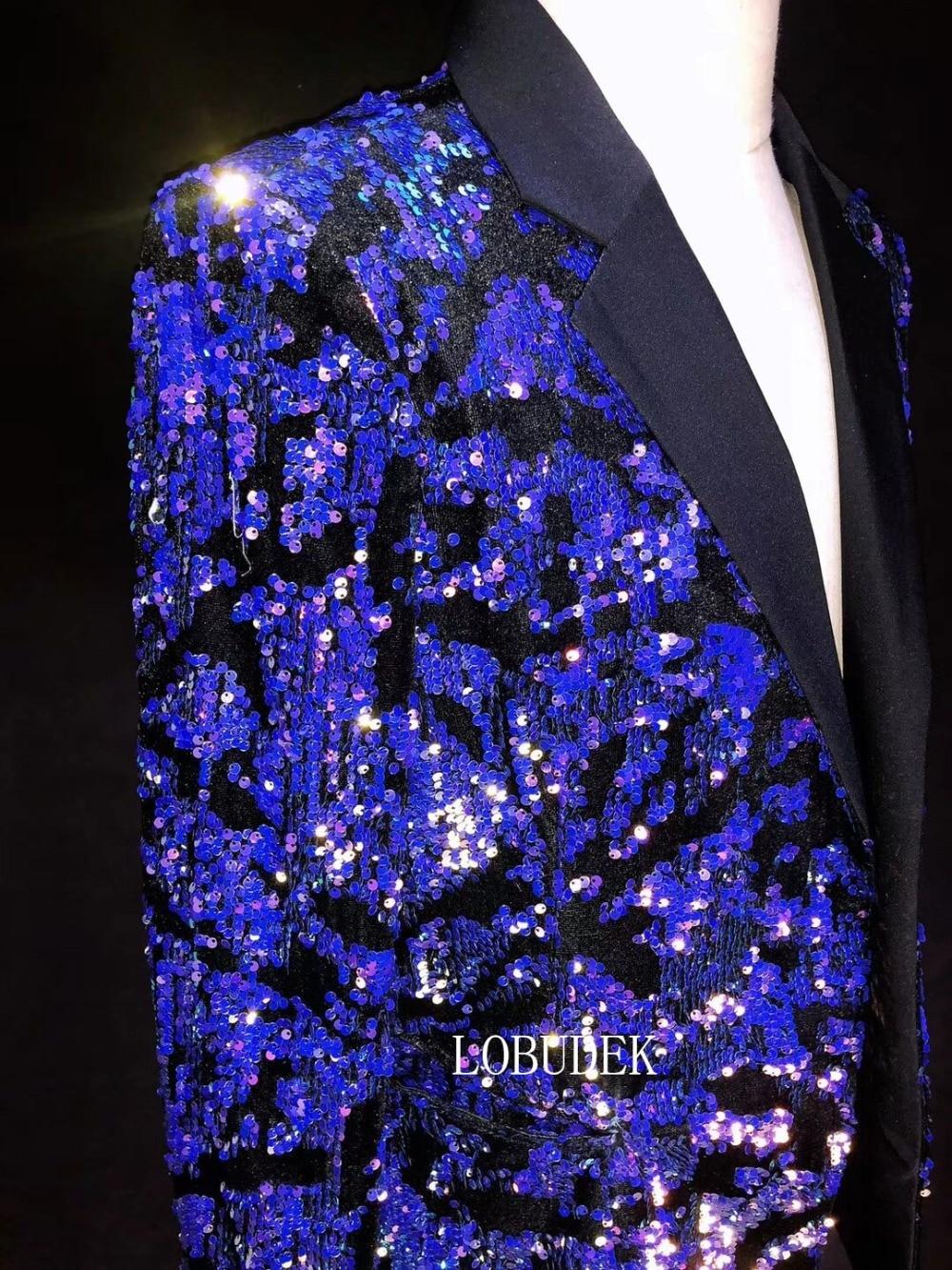 Brillante Blu Viola Paillettes Giacche dell'abito di Modo degli uomini del Rivestimento Sottile Giacche Cappotto Maschile Cantante di Nightclub Abbigliamento Host Mostra Costume - 5