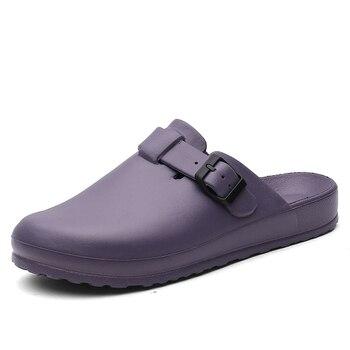 Для женщин классический антибактериальные хирургические медицинские обувь с закрытым носком мул тапочки чистых работы горки для Для женщи...