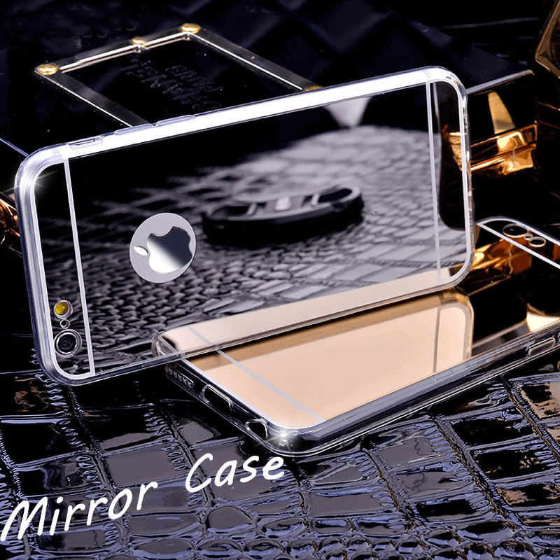 For iPhone 6 6plus 6S Plus 5 5S SE 4 4S 7 plus case Clear TPU Ultra Slim Flexible Soft Cover Rose Gold Luxury Bling Mirror Case