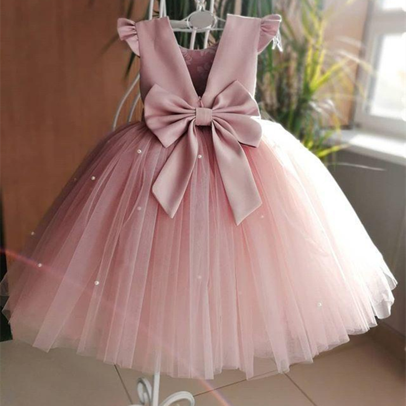 Elegant Flower Girl Dresses Sleeveless Tulle Little Kids Satin First Communion Dresses For Pageant Banquet Gown