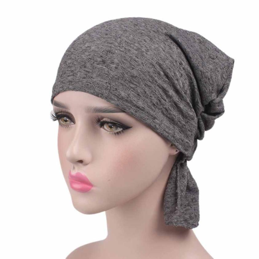 Cotton Bandanas Women New Hairwarp Muslim Solid Islamic Turban   Headwear   Bonnet Lady Beanie Headcover Headband Female P