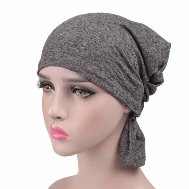 Kapas Bandana Wanita Baru Hairwarp Muslim Solid Islam Sorban Hiasan Kepala  Topi Lady Beanie Penutup Kepala 095d51c279