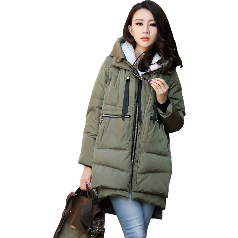 2017 Winter Jacket Women New Fashion Loose Coat Female Hoody Long Plus Size Down Parka Jackets For Women CC193