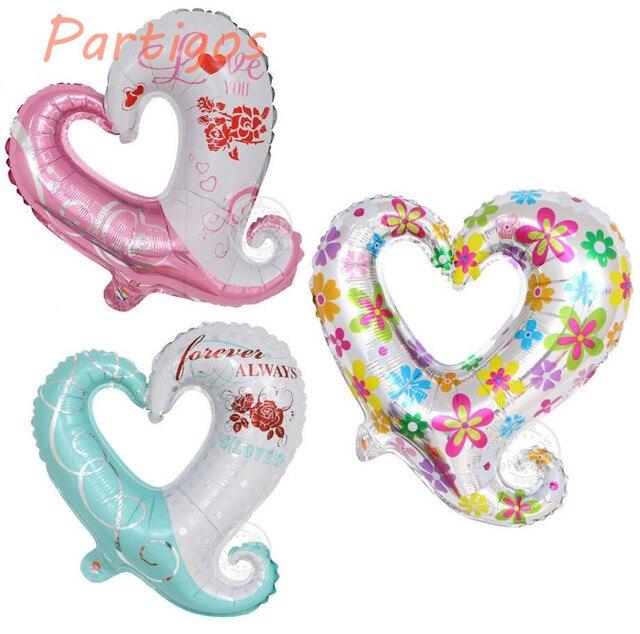 10pcs/lot 45*45cm hook heart shape foil balloons love heart balloon wedding party decorate balloons