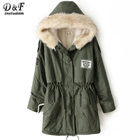 Dotfashion Faux Fur Hooded Shearling Lined Coat 2017 Green Zipper Top Ladies Long Sleeve Single Breasted Long Coat