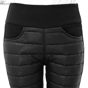 Пуховые хлопковые теплые зимние штаны Для женщин эластичный пояс дамы узкие джинсы Для женщин Повседневные Леггинсы пиджаки женские брюки