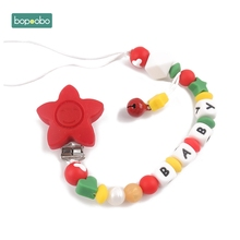 Bopoobo 1pc Baby Pacifier Clips Chains Bear Teething Christmas Gift Dummy Clip Food Grad Silicone Custom Name DIY Baby Teething