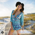 Summer Bohemian Blue Printed Women Playsuits Short Rompers Aloha Santorini Rompers Beach Playsuits