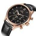 Homens relógio de Quartzo Relógios de Marca Relogio masculino Reloj À Prova D' Água esportes Relógios de Pulso Masculino Relógio de Pulso Pulseira de couro Genuíno