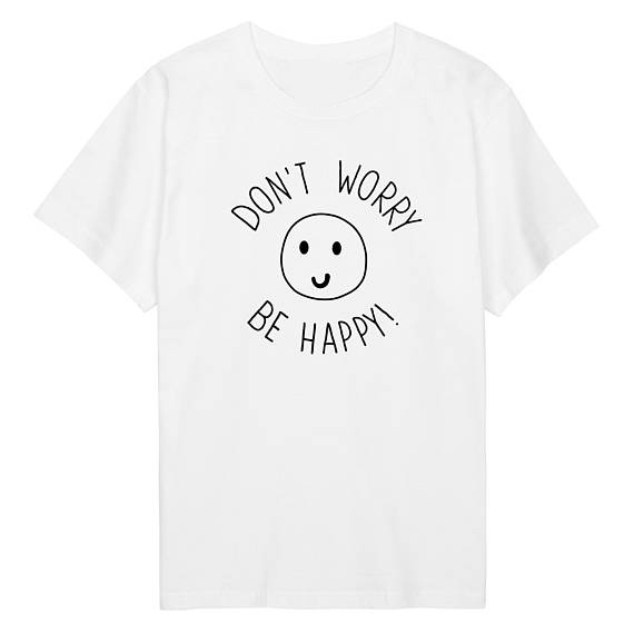 4ba9b921c dont worry be happy T-Shirt Graphic Outfits Hipster Tumblr Tees Women/Men  fashion
