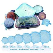 6 шт многоразовые силиконовые эластичные крышки, универсальная крышка, силиконовая пищевая упаковка, миска, крышка для кастрюли, силиконовая крышка для кастрюли, кухонные пробки