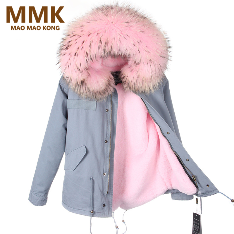 Parkas   For Women Winter 2018 Army Green Coat Real Large Raccoon Fur Collar Thicken Cotton Padded Jacket Outerwear Female Brand