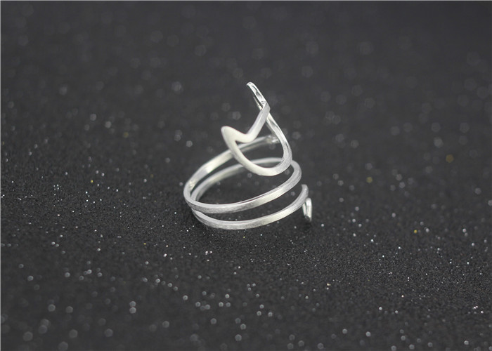 925 Sterling Silver Winding Cat Adjustable Rings*