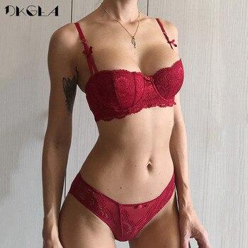 de8c0d02a1ba Nuevo sujetador de media Copa conjunto de bragas de mujer rojo conjunto de lencería  bordado blanco sujetador fino de algodón ropa interior Sexy conjunto de ...