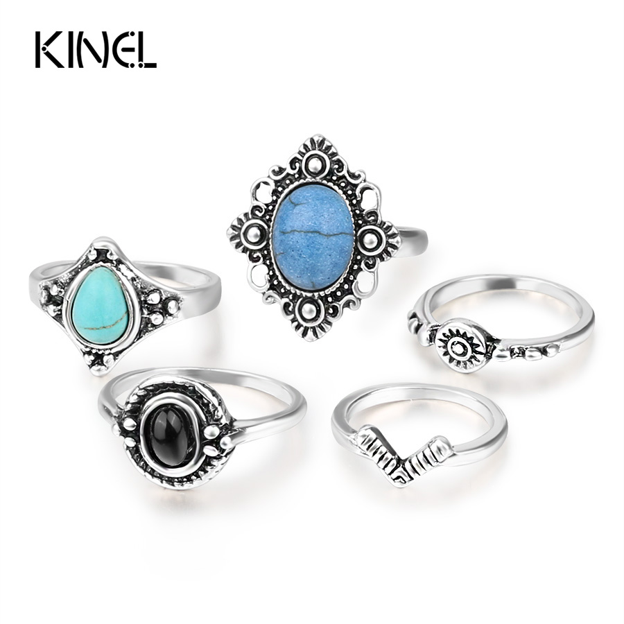 Kinel Vintage Midi Ring Set Tibetan Antique Silver Color Rings For Women 5pcs/Set Boho Crystal Jewelry