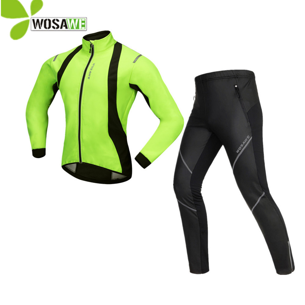 WOSAWE winter cycling clothing thermal fleece full length mtb road bike jersey PU pants sports suits bicycle set cycling clothes santic winter thermal fleece m 3xl 4d pads cycling pants men bicycle bike pants tight trousers sweatpants cycling clothing 2017