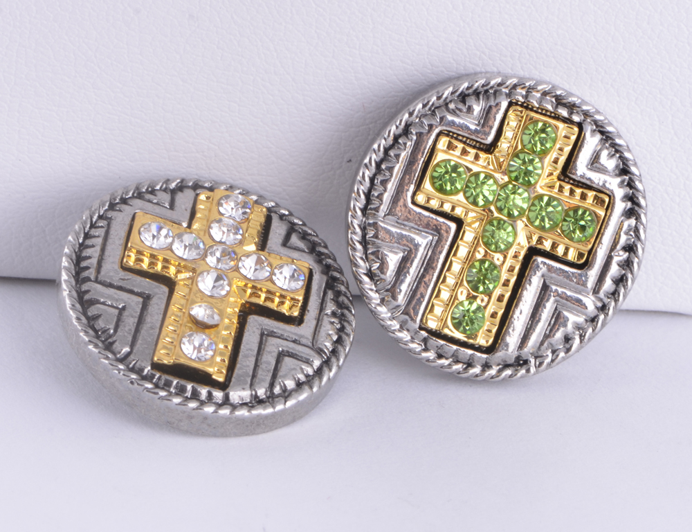 20pcs High quality mix rhinestone snap buttons 18mm gold cross diy snap button charm bracelet bangles jewelry