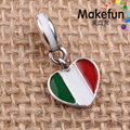 Enamel Italy Heart Flag Dangle Charms Original 100% Authentic 925 Sterling Silver Beads fit for Pandora Charms bracelets