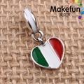 Itália Bandeira Do Coração Oscila Encantos do esmalte Original 100% Authentic 925 Sterling Silver Beads fit para Charms Pandora pulseiras