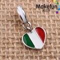 Italia Bandera Del Corazón del esmalte Cuelga Los Encantos Original 100% Auténtico de la Plata Esterlina 925 fit Pandora Charms pulseras