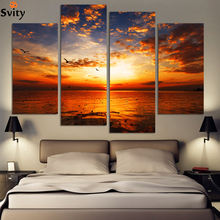 4 Panel Landscape Painting Picture Cuadros Canvas Art Modern Printed Painting For Living Room No Frame