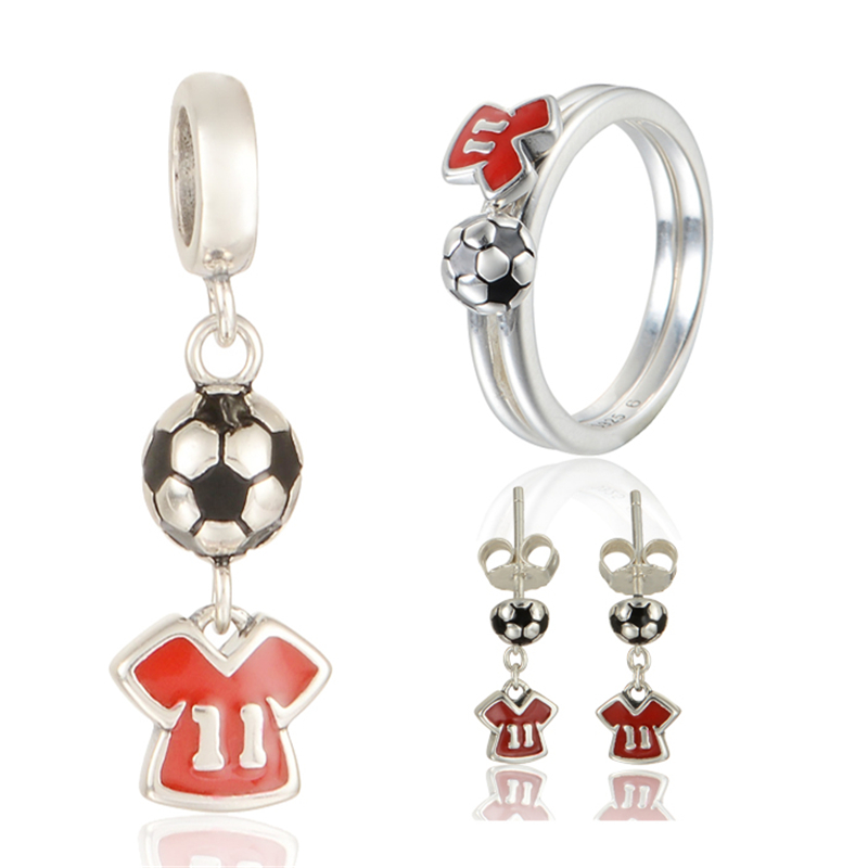 Sports Jewelry Sets Sterling Silver Charm for Lovers Red Crystal Earrings Pendant and Ring berloque GW Brand Jewelry SET-014H15 брелок gw jewelry