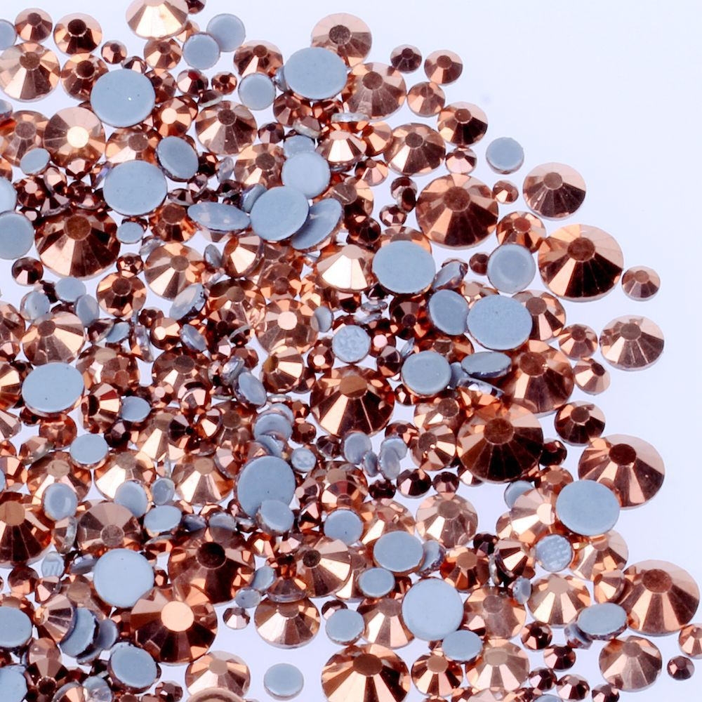 AAAA+ Quality Rose Gold DMC HotFix Rhinestones  Ss6 Ss10 Ss16 Ss20 Ss30 Iron On Flatback Hot Fix Rhinestones For Luxury Dress