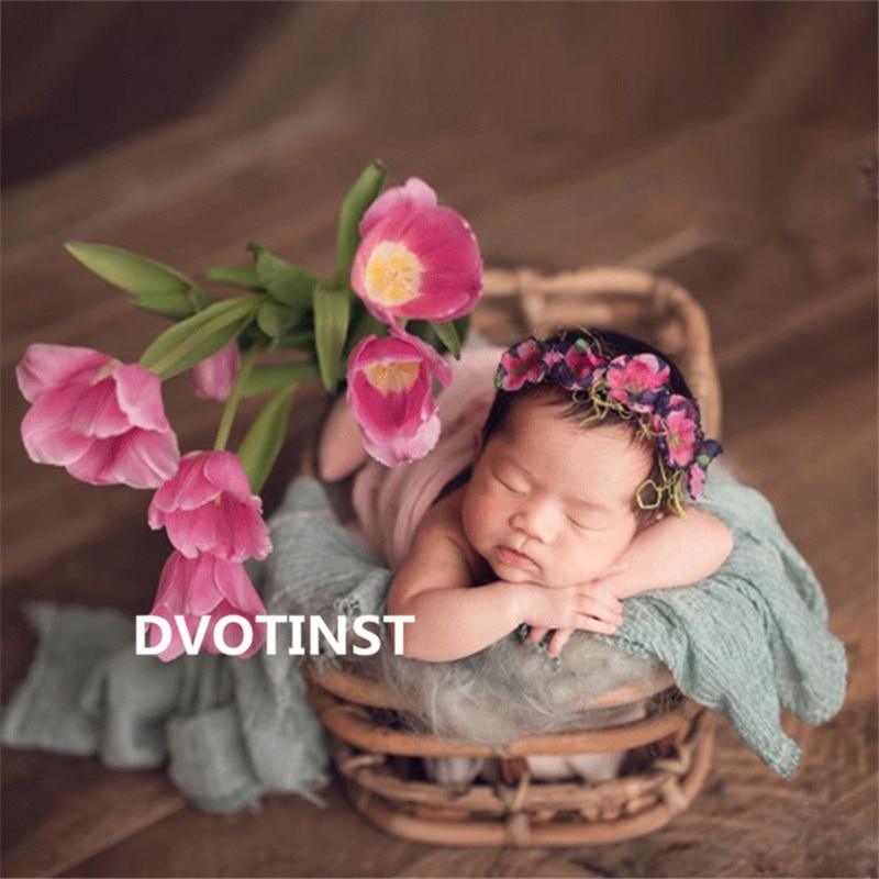 Dvotinst Newborn Baby Photography Props Retro Weave Rattan Basket 0-1 Month Fotografia Accessory Studio Shooting Photo Props