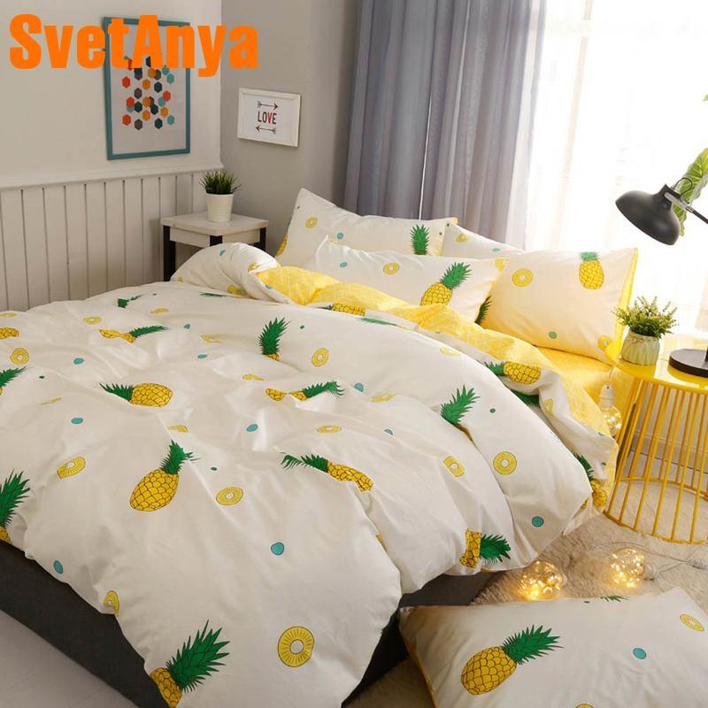Svetanya Pineapple Bedlinen 100 Cotton Bedding Set Single Double Bed (flat Sheet+Pillowcase+Duvet Cover)