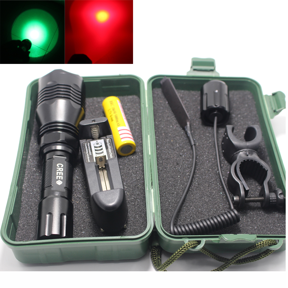 DZM-802 Green Red 1000LM Spotlight  XM-L Q5 1-Mode Hunting LED Flashlight /Remote Pressure Switch/charger/battery/clip/box