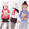 As crianças da criança roupas roupas de bebê meninas Cartoon gato brincalhão impressão de manga comprida T camisas Casual blusa Tops vestuário infantil