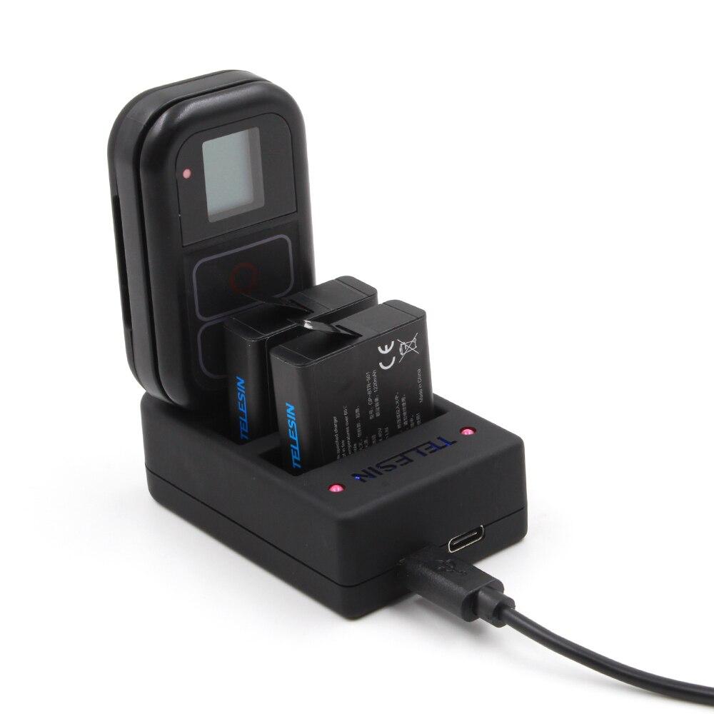 Телесин Универсальный 3 канала USB 3 слота Батарея Зарядное устройство Wi-Fi Дистанционное управление Зарядное устройство 2 в 1 для <font><b>GoPro</b></font> <font><b>Hero</b></font> 6 5 <font><b>4</b></font>, ори&#8230;