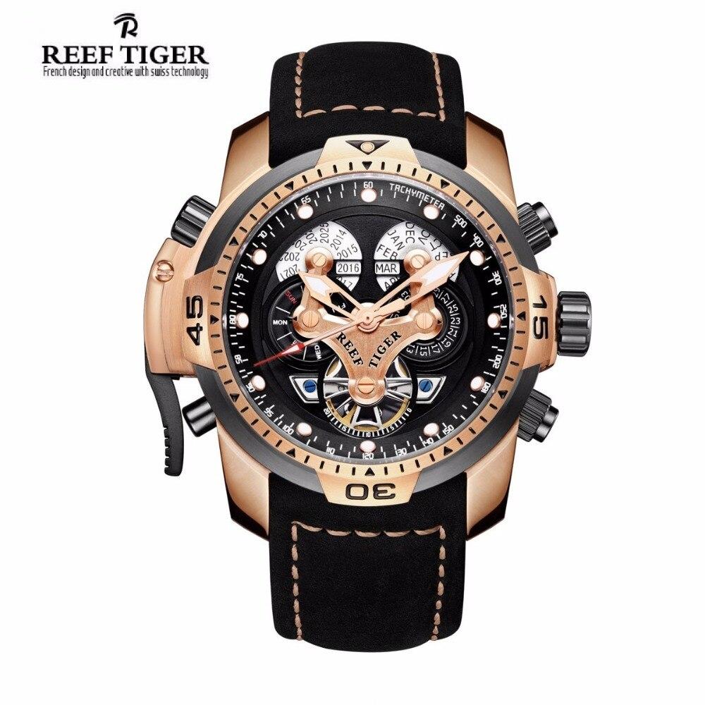 Reef Tiger/RT Mens relojes deportivos con complicado Dial oro rosa reloj militar automático banda de cuero genuino RGA3503