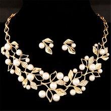 Элегантные наборы свадебных ювелирных изделий из искусственного жемчуга, свадебные ювелирные изделия в виде листьев, кристалл золотого и серебряного цвета ожерелья, серьги, наборы для женщин
