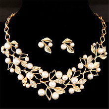 Elegant Simulated Pearl Bridal Jewelry Sets Wedding Jewelry Leaf Crystal Gold Silver Color Necklaces Earrings Sets Women(China)