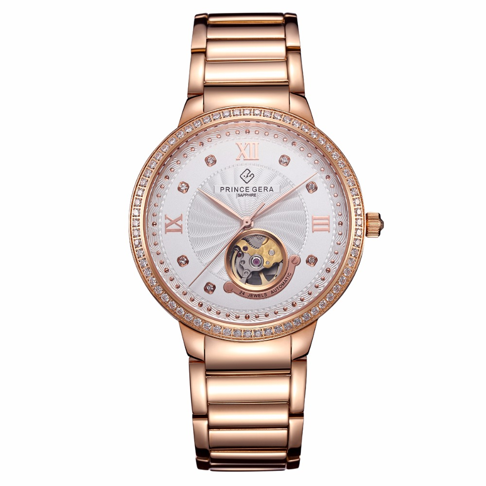 PRINCE GERA Rose Gold Couple's Tourbillon Luxury Dress Watch 24 Jewel Japanese Movement Automatic Mechanical Wrist Watch сумки gera сумка
