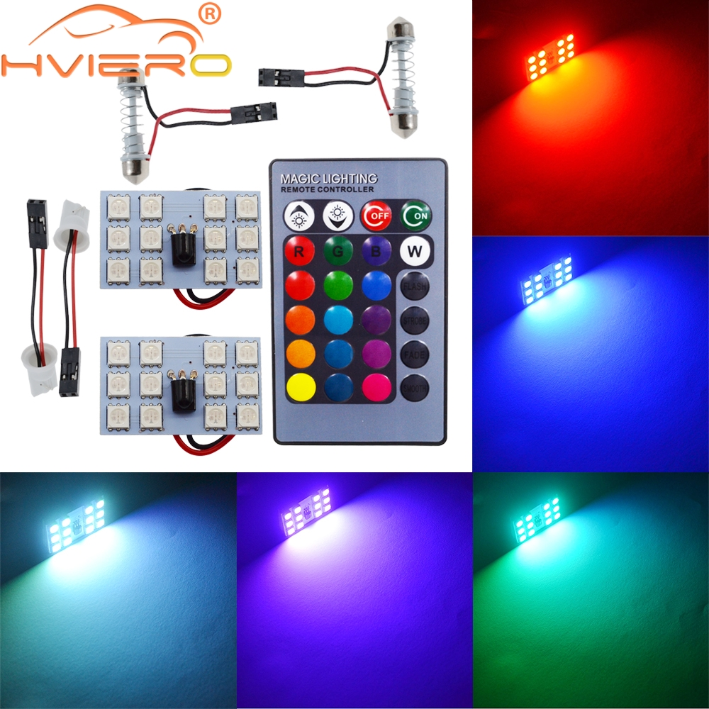 T10 RGB 5050 36LED Festoon Dome Auto Car Interior Panel Reading Lamp Controller