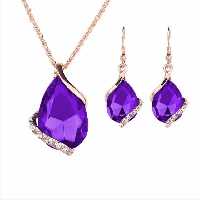 Crystal Earrings Necklace Set